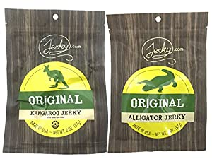 SPECIALTY Exotic Jerky Sampler Pack - TESTER 2 PACK - 2 Types of Wild Game Jerky (Kangaroo Jerky and Alligator Jerky) - No Added Preservatives, Nitrates or MSG - 2 total oz.