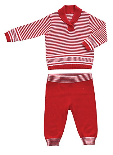 Angel Dear 2 Piece Christmas Red Stripe Shawl Sweater Gift Set Outfit, Unisex Baby, Let it Snow (12-18 Months)