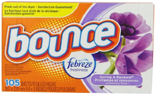 Bounce With Febreze Scent Spring & Renewal Fabric Softener Sheets 105 Count (Pack Of 3)