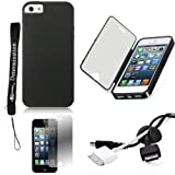Black TPU Skin Cover Case With Built in Screen Protector For Apple iPhone 5 iOS (6) Smart Phone + BLACK Cord Organizer + Apple iPhone 5 Screen Protector + an eBigValue TM Determination Hand Strap