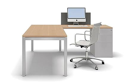 Schreibtisch mit Container Gate, Eckschreibtisch, Winkelschreibtisch, Arbeitszimmer, hochwertige Buromöbel