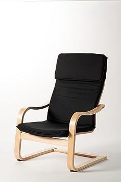 schwingsessel sessel loungesessel schwarz holz stoff neu 11021 dc389. Black Bedroom Furniture Sets. Home Design Ideas