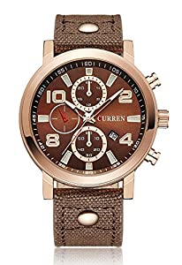 CURREN Men's Analog Quartz Date Calendar Leather Band Waterproof Sport Casual Wrist Watch Coffee