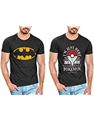 T Shirt For Men & Boys Graphic Round Neck Half Sleeve Combo Of 2_Slim Fit_100% Cotton_Casual T Shirt_graphic Printed_T-Shirts...
