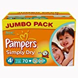Pampers Simply Dry Gr.4+ Maxi Plus 9-20kg Jumbo Box, 2er Pack (2 x 70 Windeln)