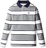 (ラコステ)LACOSTE BOYS ボーダー ポロシャツ(長袖) PJ9768 TG8 グレー 04A
