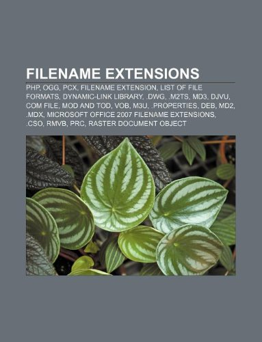 Filename extensions: PHP, Ogg, PCX, Filename extension, List of file formats, Dynamic-link library, .dwg, .m2ts, MD3, DjVu, COM file
