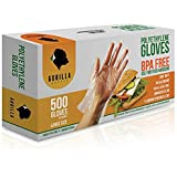 500 BPA Free Disposable Poly PE Gloves Large, Food Grade