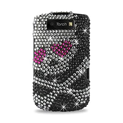 Reiko RKDPC-BB9800-03 Premium Rhinestone Diamond Bling Hard Shell Snap-On Protector Case Cover for Blackberry Torch 9800 - 1 Pack - Retail Packaging - Multi from Reiko
