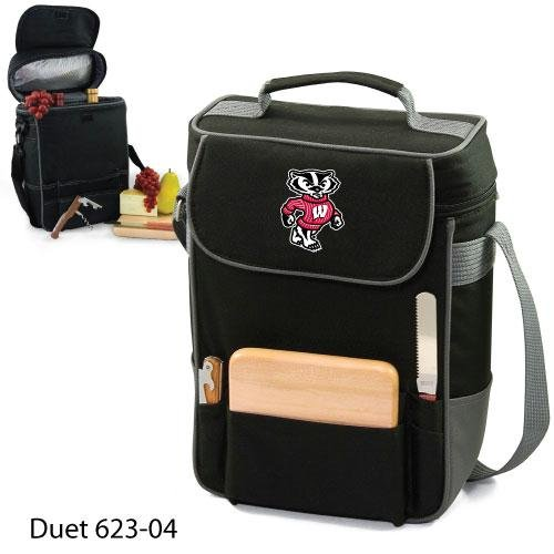 Ncaa Wisconsin Badgers Duet Insulated Wine And Cheese Tote With Team Logo front-88432