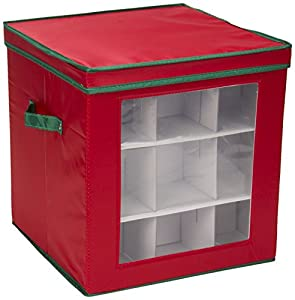 Household Essentials Holiday Ornament Storage Box for 27-Piece, Red with Green Trim