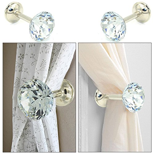 EleCharm 1 Pair Simple Design Diamond Crystal Curtain