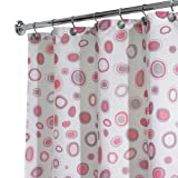 InterDesign Geometric Shower Curtain, 72-Inch by 72-Inch, Pink/Gray
