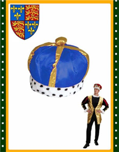 Majestic Renaissance King Queen Blue Costume Crown Hat