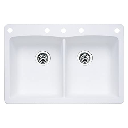 Blanco 440221-5 Diamond 5-Hole Double-Basin Drop-In or Undermount Granite Kitchen Sink, White