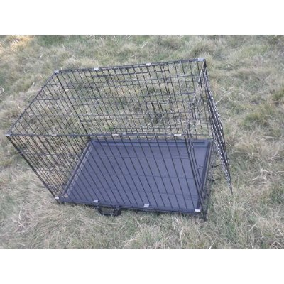 3 Door Pet Folding Dog Crate Cage Kennel w/ABS Tray - Black, 36 Inches