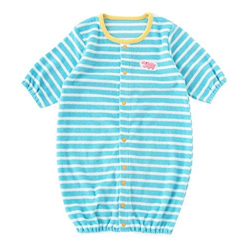 (チャックル) chuckle タオル地カラフルボーダー新生児ツーウェイオール サックス 50-60cm P5075-00-30