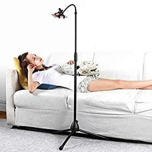 Kufox Retractable Adjustable Cell Phone Tripod Stand Holder, Smartphone Holder Mount,360 Degree Rotatable Telescopic Tripod (Color: Stretched Clamp)