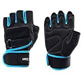 TClian 620 Men's Training Fitness Gym Gloves, Training Fitness Workout Wrist Wrap Workout Exercise (Blue, L)