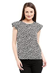 Prym Women's Printed Flutter Sleeve Blouse (1011501703_Black Mix_Small)
