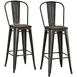 "DHP Luxor Metal Bar Stool with Wood Seat (Set of 2), 30"", Antique Copper"
