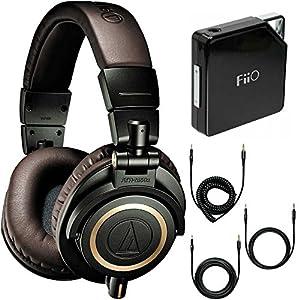 Audio-Technica ATH-M50xDG Limited Edition Professional Headphones - Dark Green Amplifier Bundle - Includes FiiO E6 Portable Headphone Amplifier