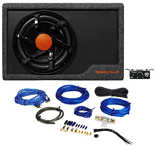 rockville rws12ca slim 1200 watt 12 quot powered car subwoofer enclosure wire kit