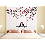 Orange And Orchid Love Bird With Red Small Heart All Around Wall Sticker( PVC Vinyl, 140 Cm X 100 Cm)