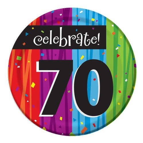 Creative Converting Milestone Celebrations Round Dessert Plates, 8-Count, Celebrate 70