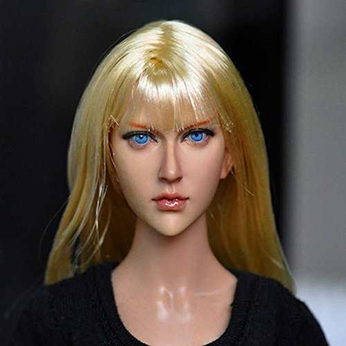 1/6 Scale Action Figure Accessory 13-90 Female Head Sculpt Girl Head Carving Model with Long Blonde Straight Hair Doll Collection Toy Gift Accessories Fit for 12 inches Action Figures