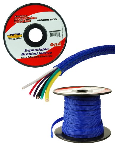 Blue 1/4 100Ft Braided Expandable Flex Sleeve Wiring Harness Loom Wire Cover