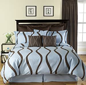 new wave modern contemporary brown and blue 5pc duvet cover bedding set queen size. Black Bedroom Furniture Sets. Home Design Ideas