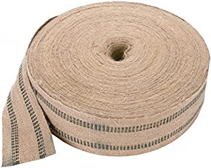 Mastex Jute Webbing, 3-3/4-Inch, Natural with Blue Line