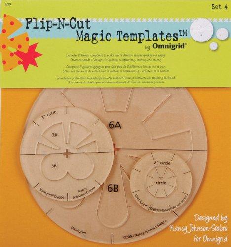 Omnigrid 1-2-3-6-Inch Flip-N-Cut Magic Templates, Set 4