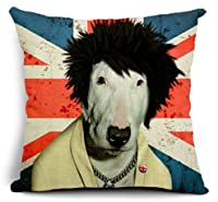 """Ycch Cotton Linen Square Decorative Cushion Cover Sofa Throw Pillowcase 18"""" x 18"""" Dog from valley"""