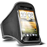 ONX3 HTC Desire X Grey Adjustable Strap Jogging Walking Sports Armband