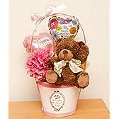 【母の日2013】母の日ギフト Thanksバスケットのくまちゃんアレンジ ぬいぐるみとカーネーションの造花のかわいい癒しのプレゼント