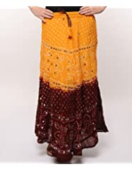 Soundarya Women Cotton Skirts -Yellow -Free Size - B00MPU1BEM