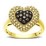 10k Yellow Gold Brown and White Diamond Pave Heart Ring (1/3 cttw, I-J Color, I2-I3 Clarity), Size 7