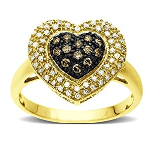 XPY 10k Yellow Gold Chocolate Brown Diamond and White Diamond Pave Heart Ring (1/3 cttw, I-J Color, I2-I3 Clarity), Size 7