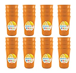 Preserve Everyday 16 Ounce Cups, Set of 32, Orange