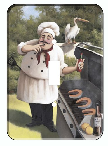 BBQ Fat Italian Chef Wine Single Switchplate Light Cover
