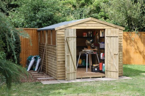 10' x 8' Wooden Garden Shed or Workshop Double Door Apex Roof Low Maintenance Overlap Wood 15 Year Anti-Rot Guarantee