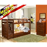 Solid wood Reversible Stairway Twin / Twin Bunk Bed w/ Drawer,Under bed drawers,Made in USA