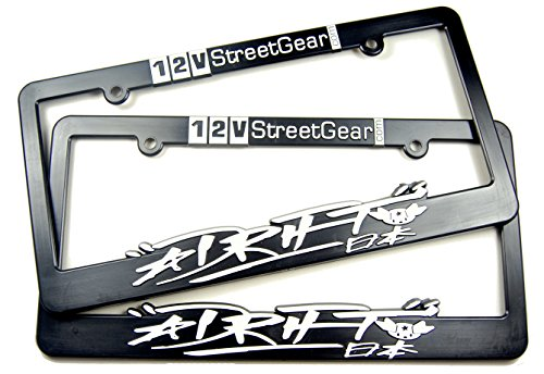 2x Nihon (Japan Kanji) Star Drift, 12V StreetGear Racing License Plate Frames - Fits Standard 12