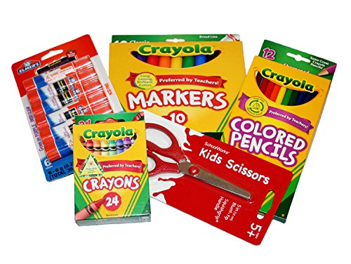 Basic Crayola Back to School Bundle - 5 Items - Crayola Crayons, Crayola Markers, Crayola Colored Pencils, Elmer's Glue Sticks and Child Scissors