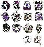 Timeline Trinketts Rhinestone Birthstone Charm Bracelet Beads Fits Pandora Jewelry European Style Purple