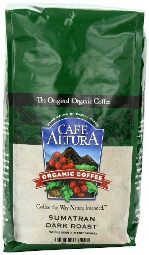 Cafe Altura Organic Coffee, Sumatran Dark Roast, Whole Bean, 32-Ounce Bag
