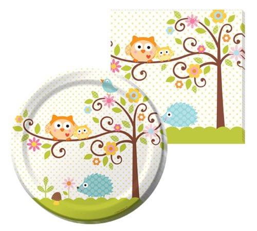 Owl and Porcupine Polka Dot Happy Tree Fancy Napkin & Plate Party Kit