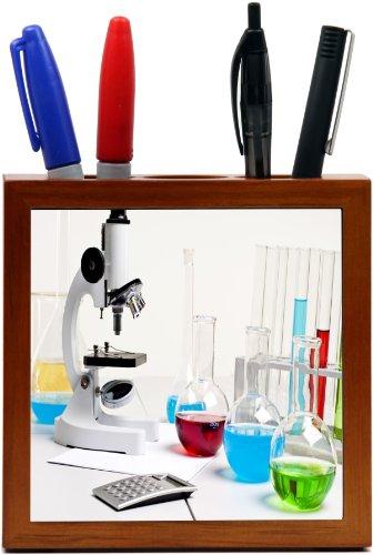 Rikki Knighttm Microscope Bright Color Fluid Bottles Design 5 Inch Tile Wooden Tile Pen Holder